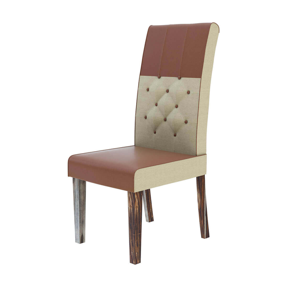 exciting leather and fabric tufted parson dining chair