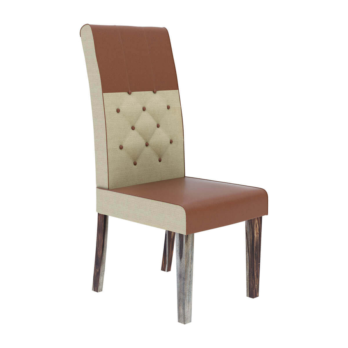 Hosford handcrafted leather and fabric tufted parson for Tufted leather dining room chairs