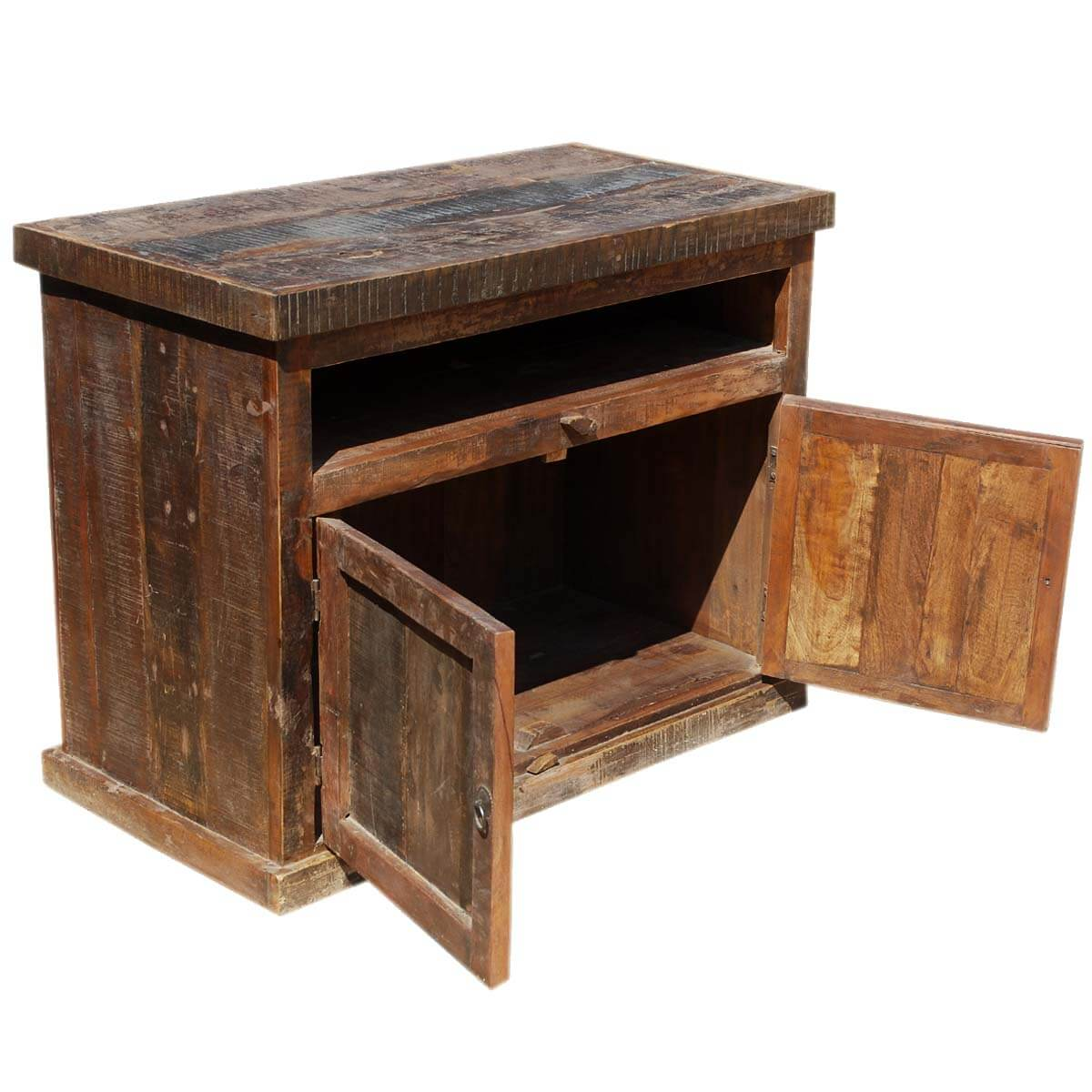 reclaimed wood media console tv stand rustic furniture
