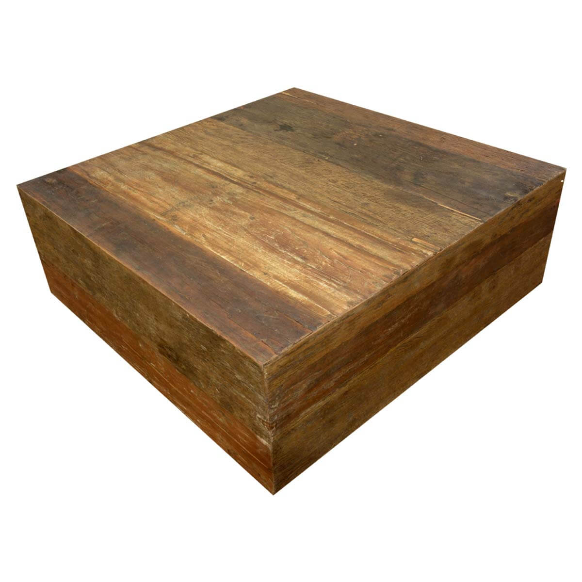 Appalachian Rustic Old Wood Square Box Style Coffee Table