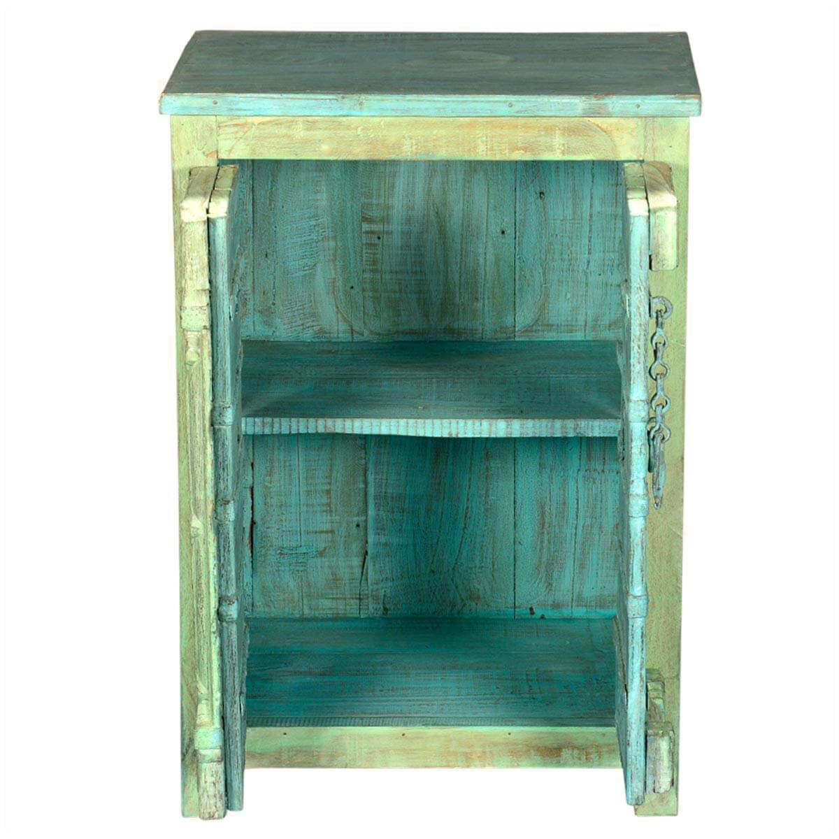 Rustic reclaimed old wood amish metal accent storage for Wood and metal cabinets