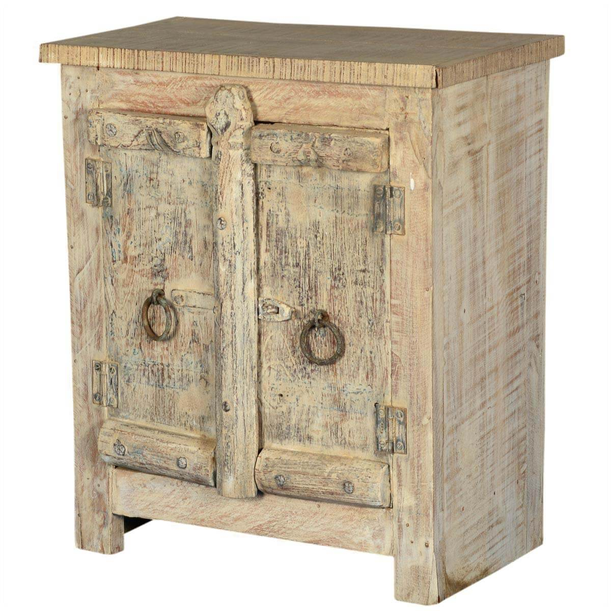 amish 2 door old wood small rustic accent end table storage cabinet. Black Bedroom Furniture Sets. Home Design Ideas