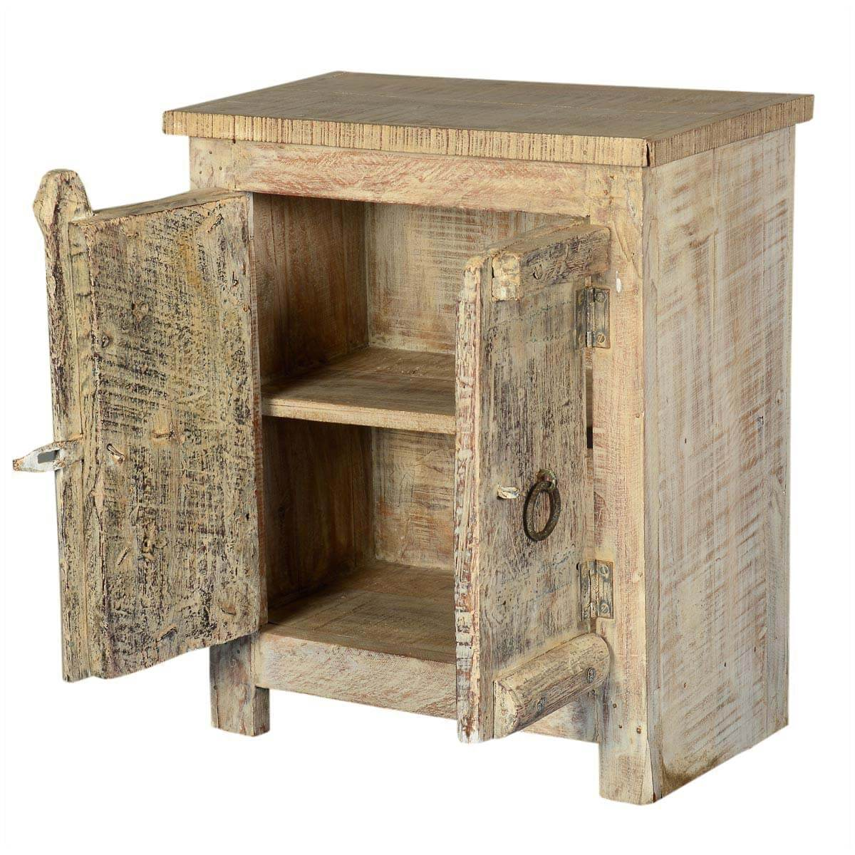 Amish 2 door old wood small rustic accent end table for Rustic wood accent tables