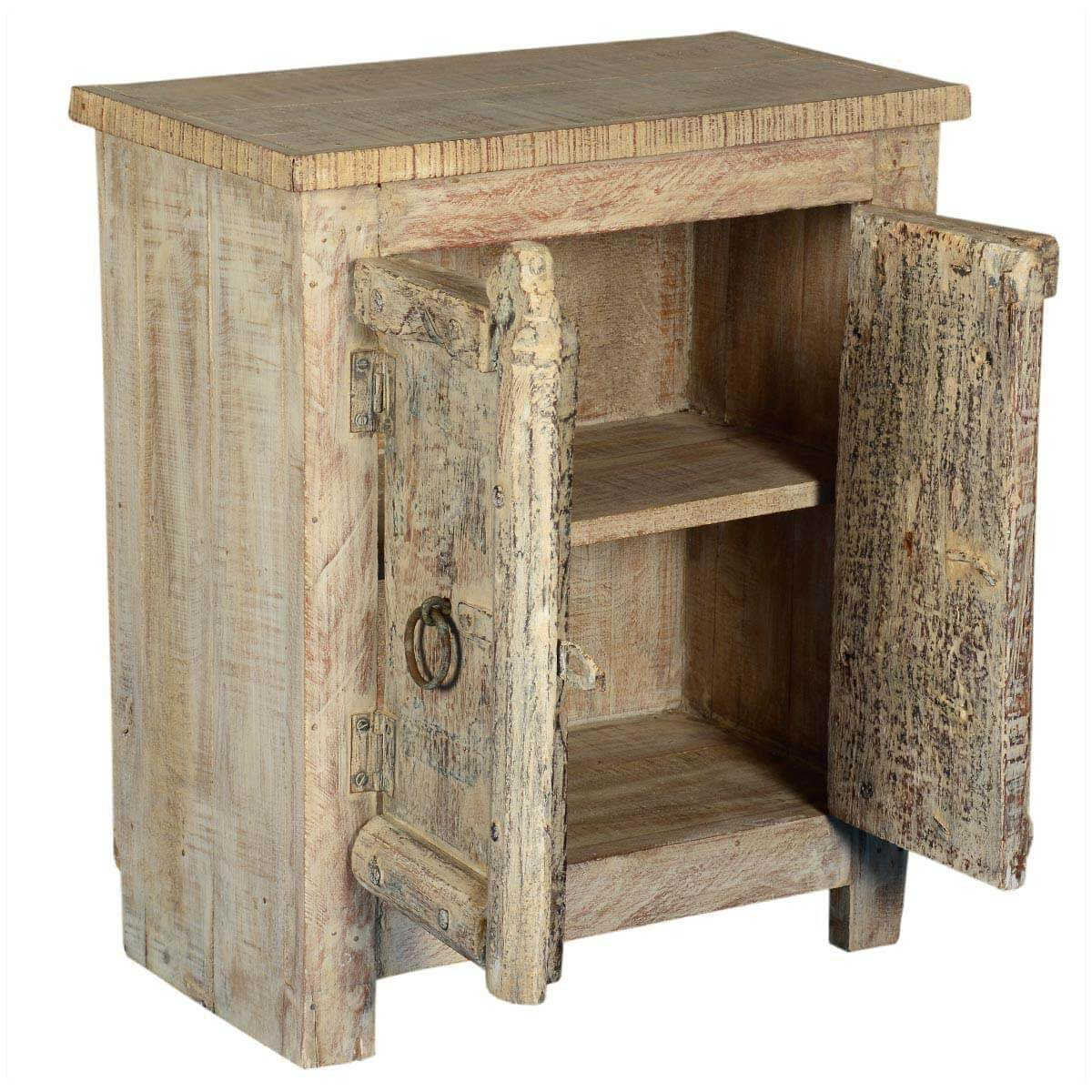 Amish 2 door old wood small rustic accent end table for Small wood end table