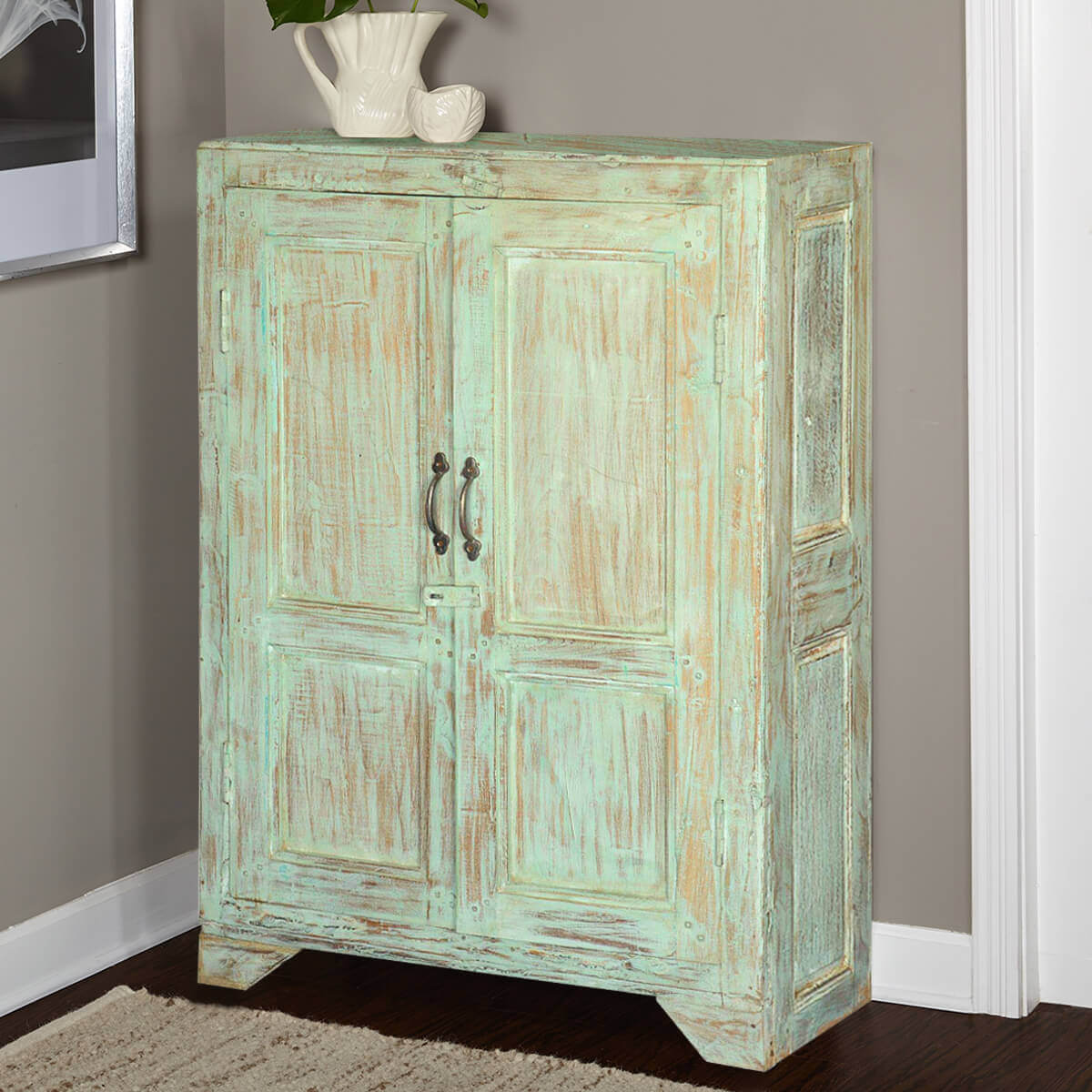 Julian rustic reclaimed wood storage cabinet 2 door small armoire