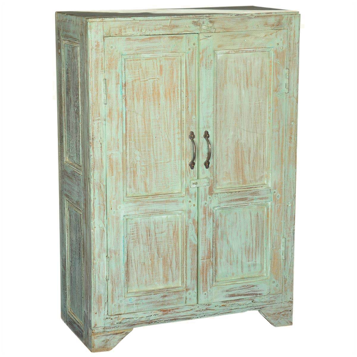 julian rustic reclaimed wood storage cabinet 2 door small armoire. Black Bedroom Furniture Sets. Home Design Ideas