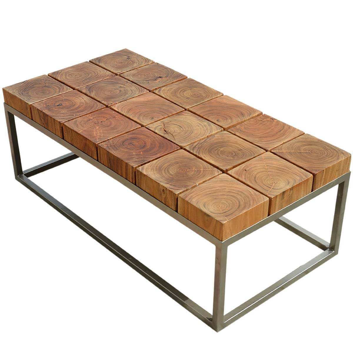 Unique solid wood industrial iron base block coffee table Bases for coffee tables