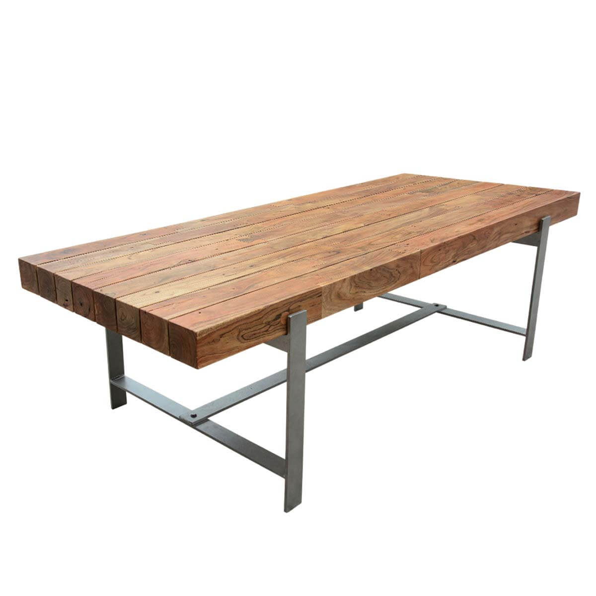 Unique Hankin Industrial Iron Hardwood 94 Large Dining Table