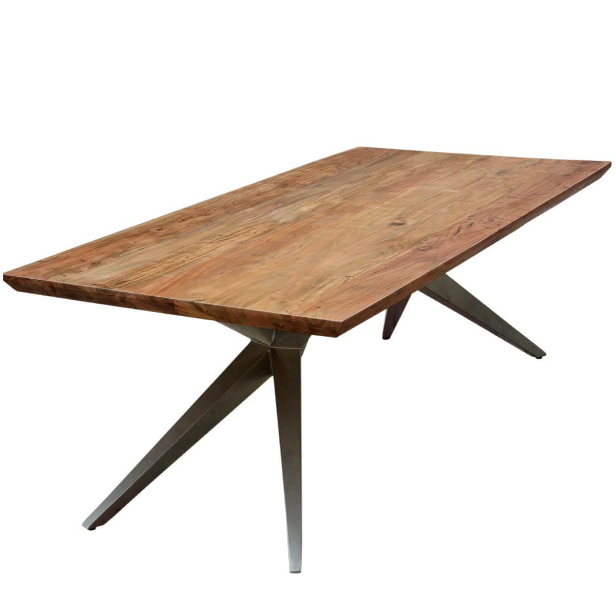 Unique industrial spyder loft solid wood hankin large for Large dining table