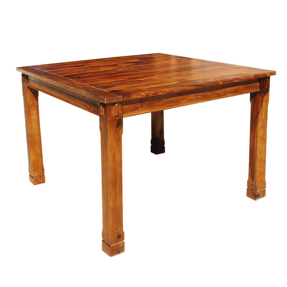 Rustic solid wood square counter height dining table for Solid wood dining table