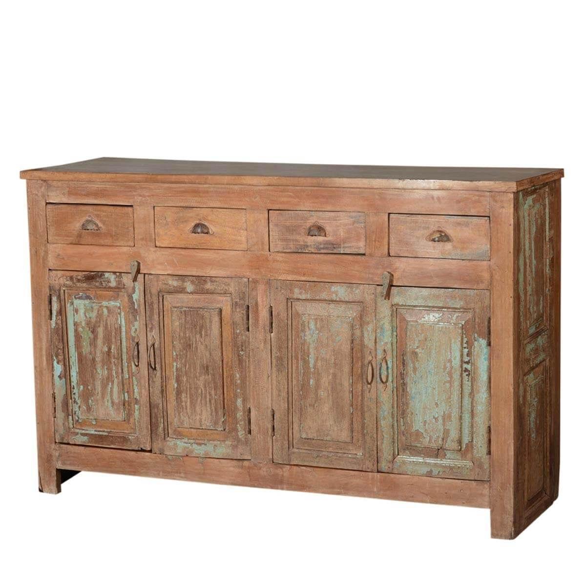 """Reclaimed Wood Kitchen Cabinets: Rustic Shaker Reclaimed Wood 70"""" Sideboard Buffet Cabinet"""
