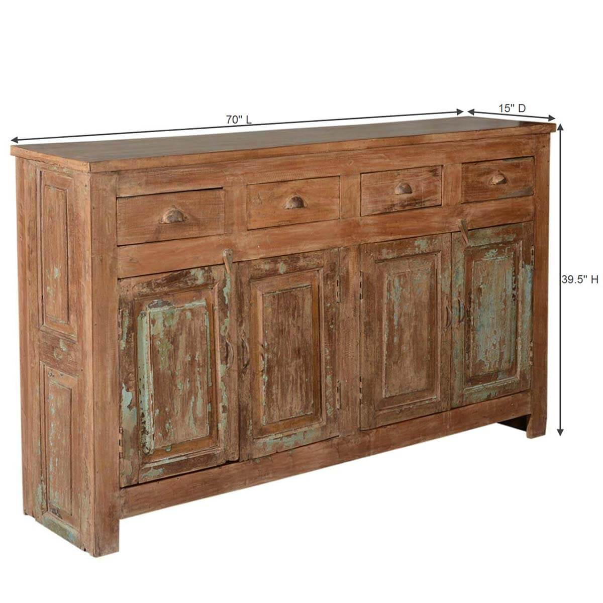 Rustic Shaker Reclaimed Wood 70 Quot Sideboard Buffet Cabinet