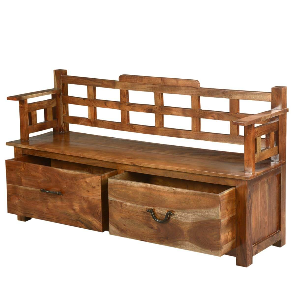 Solid Wood Storage Trunk Drawer Box Sofa Long Bench