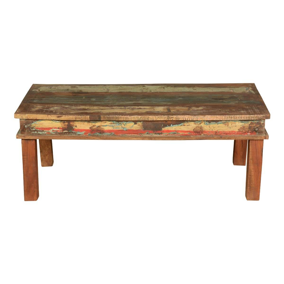 Appalachian reclaimed wood multi color coffee table for Reclaimed coffee table