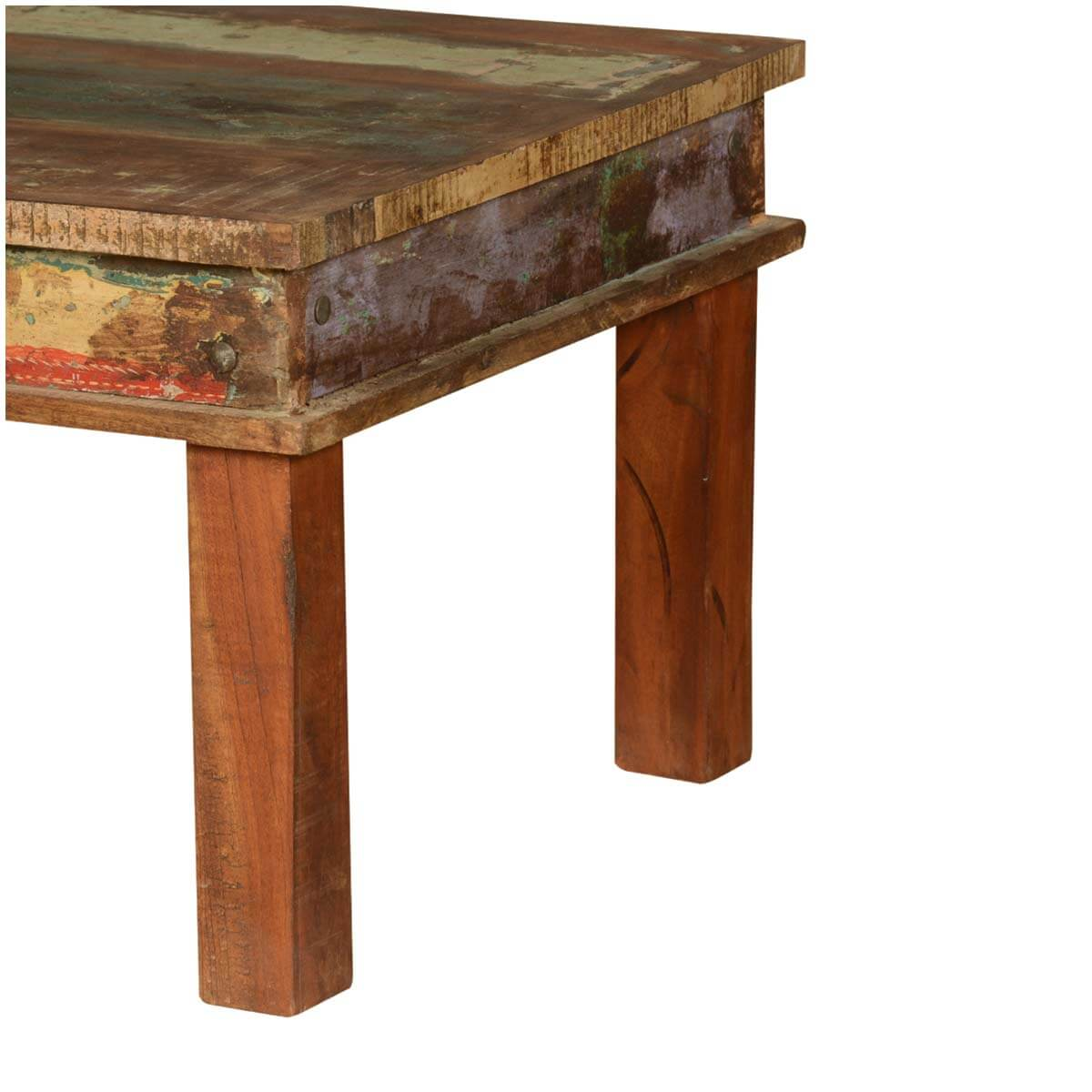 Large Distressed Wood Coffee Table: Appalachian Reclaimed Wood Multi-Color Coffee Table