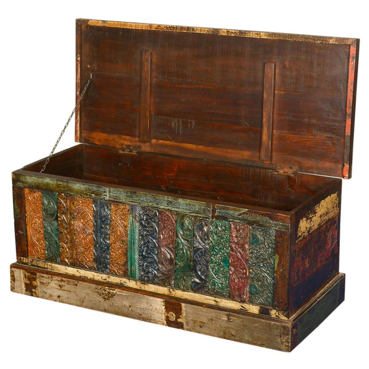 Wooden Tapestry Distressed Reclaimed Wood Coffee Table Chest