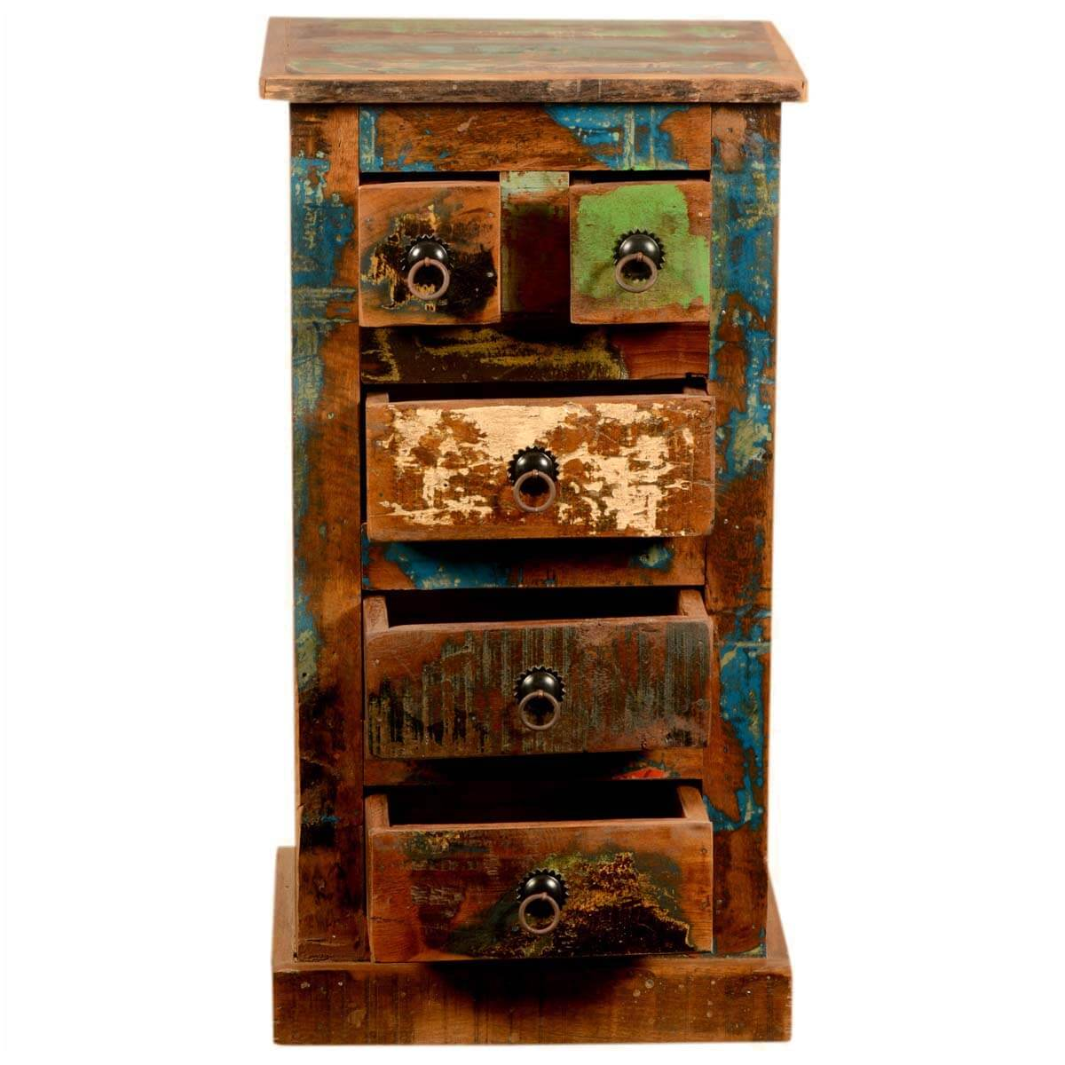 Rustic Reclaimed Wood Mini Chest Of Drawers End Table