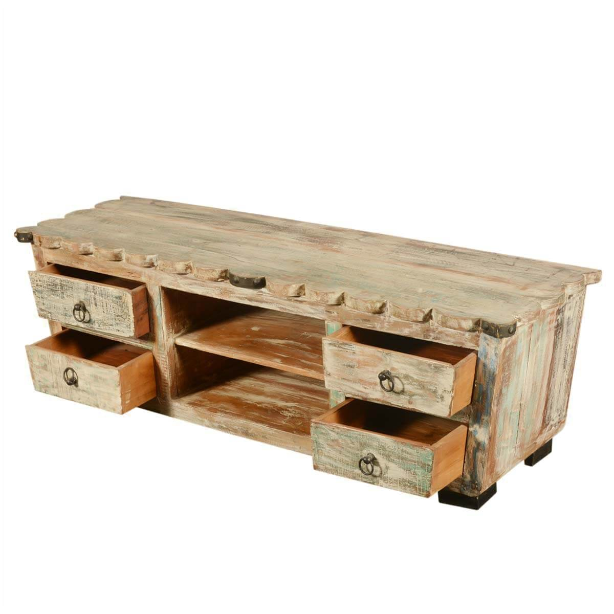 Reclaimed Wood Furniture 4 Drawer Tv Stand Media Console