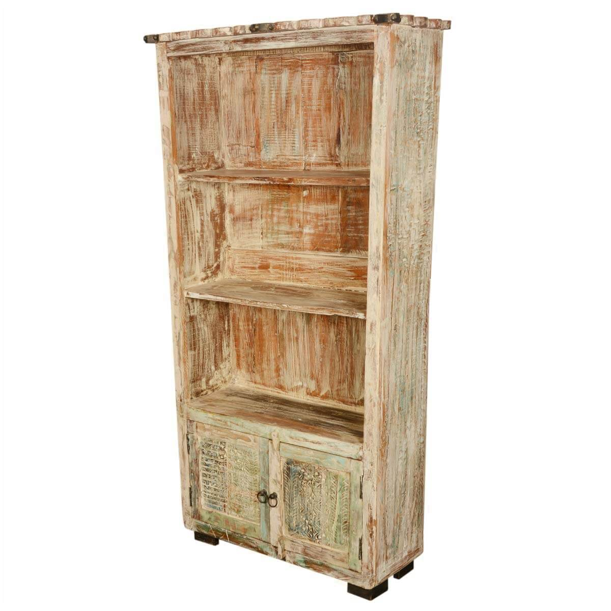 Recycled Wood Bookcase ~ Winter night reclaimed wood scalloped quot open shelf bookcase
