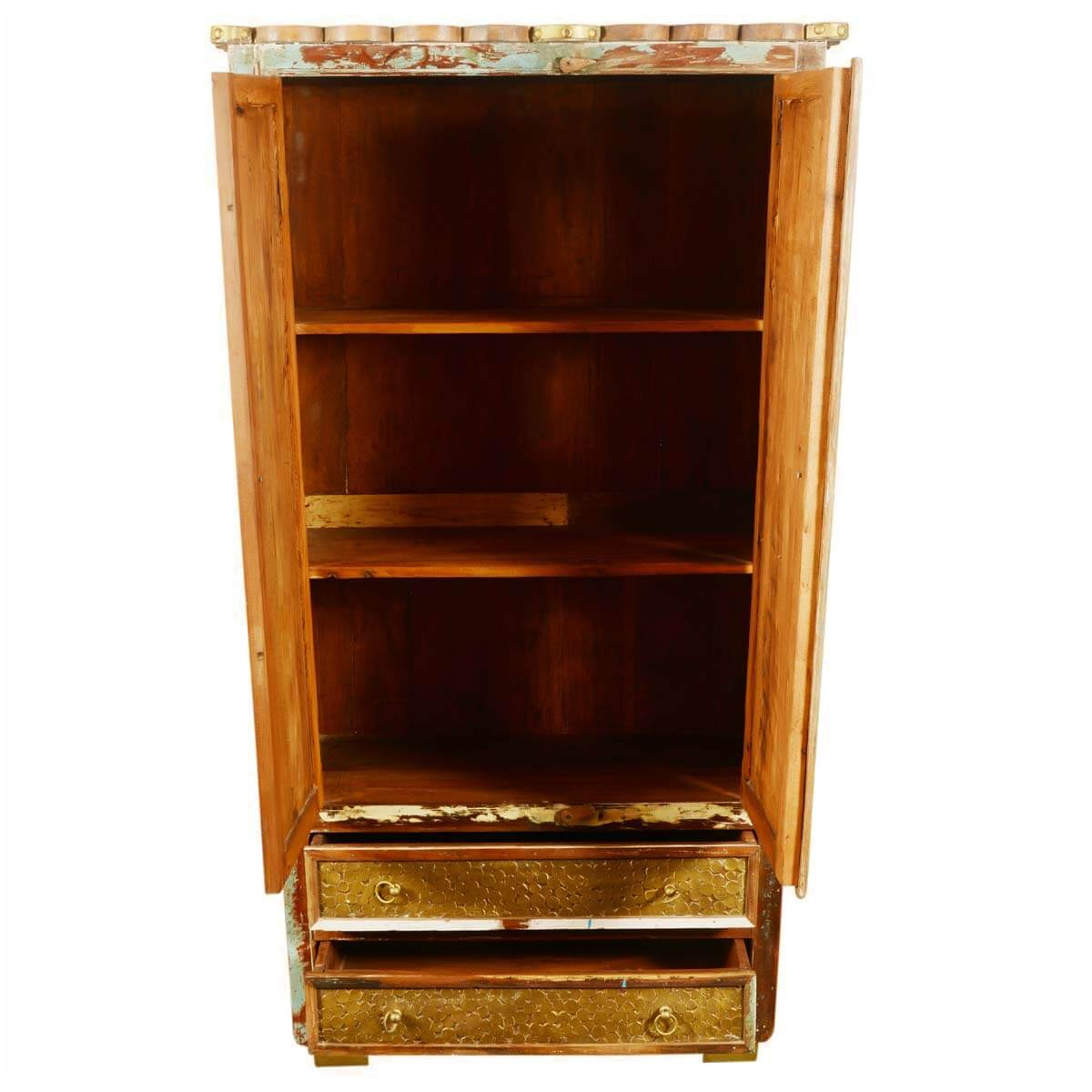 Superb img of  Golden Coins Reclaimed Wood 72 Armoire Cabinet w Bottom Drawers with #B0500C color and 1200x1200 pixels