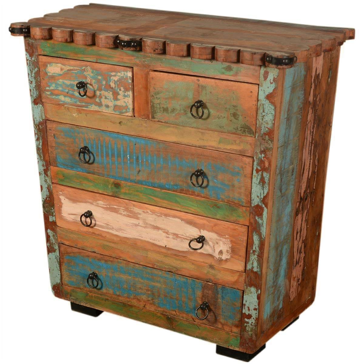 paint box rustic reclaimed wood scalloped edge chest of drawers. Black Bedroom Furniture Sets. Home Design Ideas