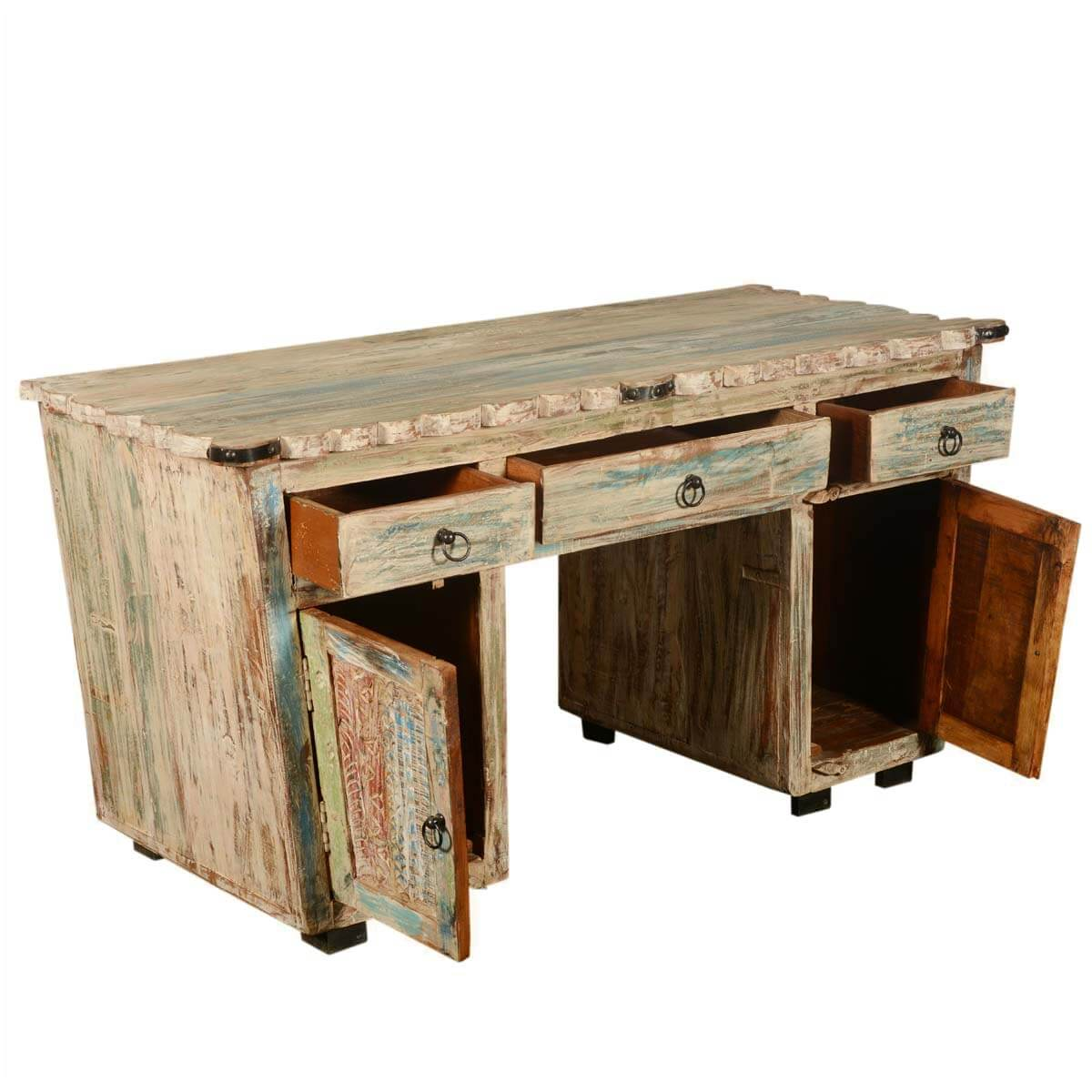 Rustic Reclaimed Wood Scalloped Edge Pedestal Desk
