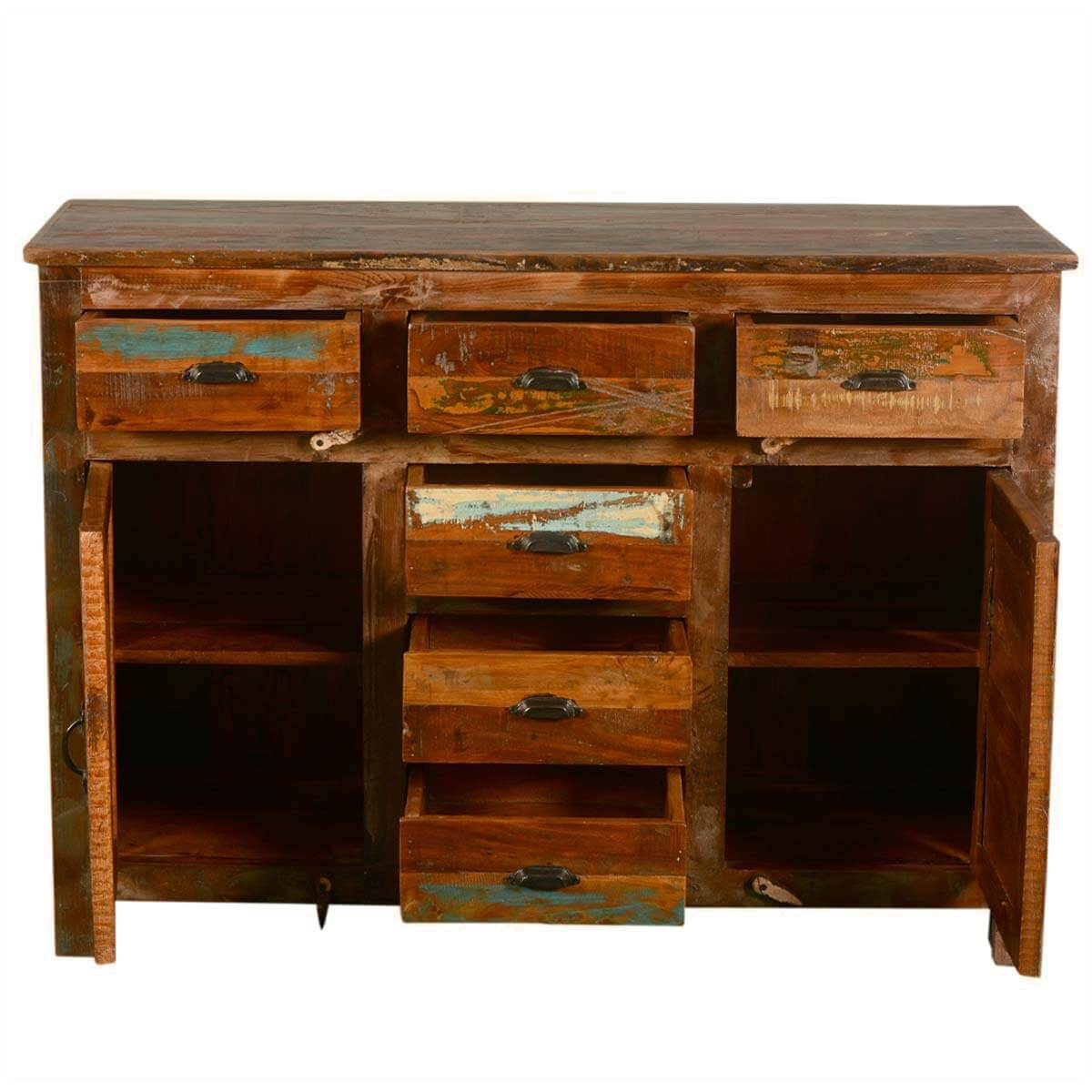 Pedro Rustic Reclaimed Wood 6 Drawer Sideboard