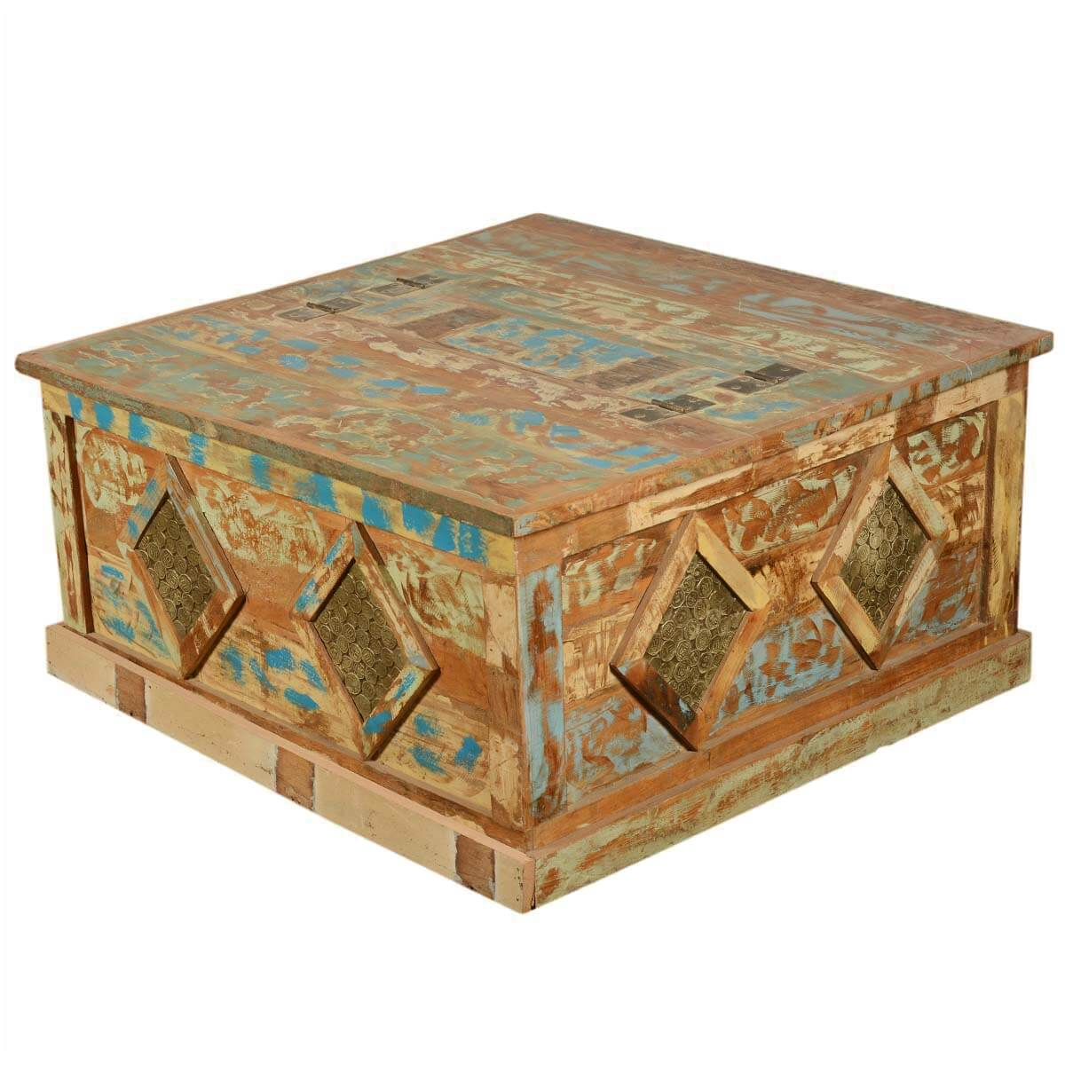 Golden Coins Reclaimed Wood Square Double Lid Coffee Table Chest