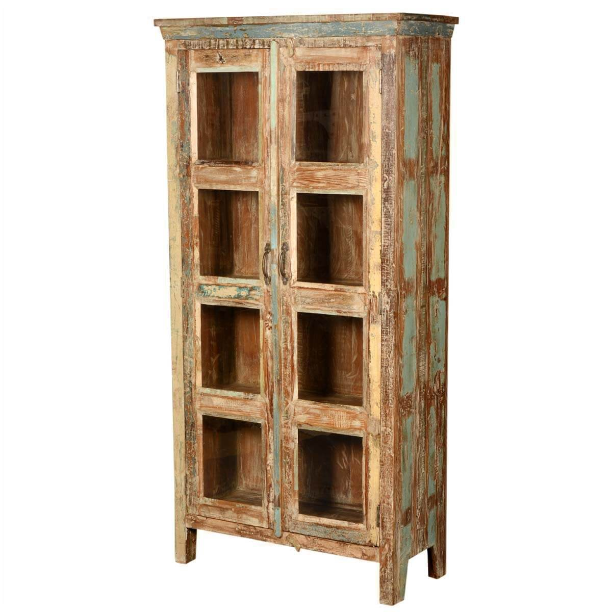 New Memories Reclaimed Wood 8 Window Curio Armoire Cabinet