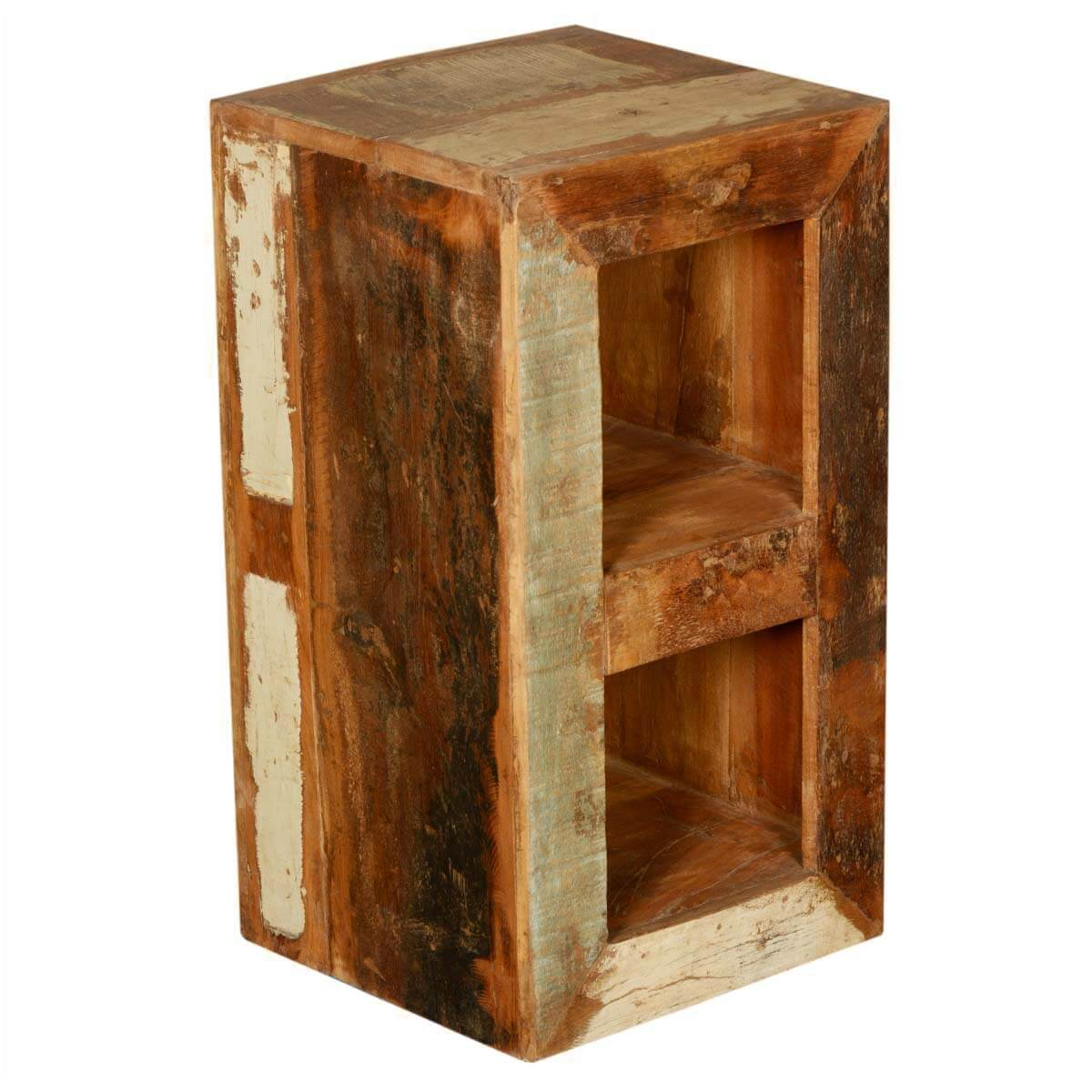 Wood Night Stand ~ Open back rustic reclaimed wood cubical night stand end