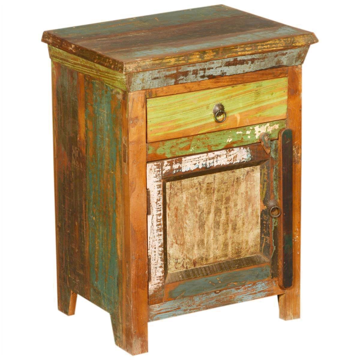 New memories rustic reclaimed wood night stand end table for Rustic wood nightstand