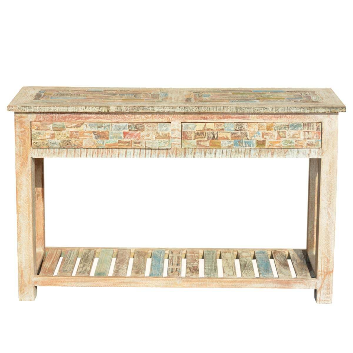 Marvelous photograph of  Paint Box Reclaimed Wood Pastel 47.5 Console Hall Table w Drawers with #A47D27 color and 1200x1200 pixels