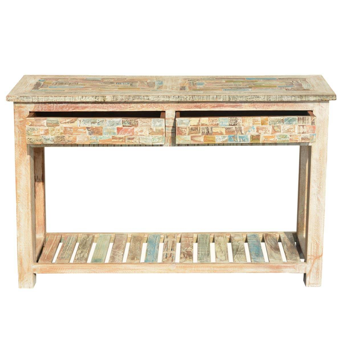 Box Console Table ~ Paint box reclaimed wood pastel quot console hall table w
