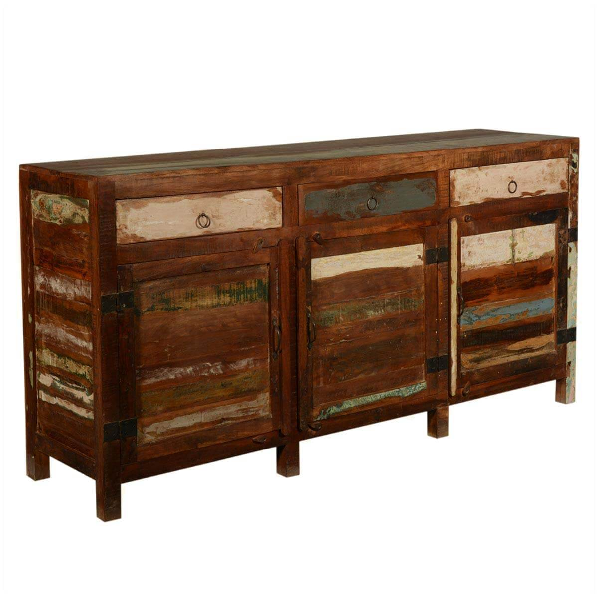 New memories reclaimed wood section buffet sideboard cabinet