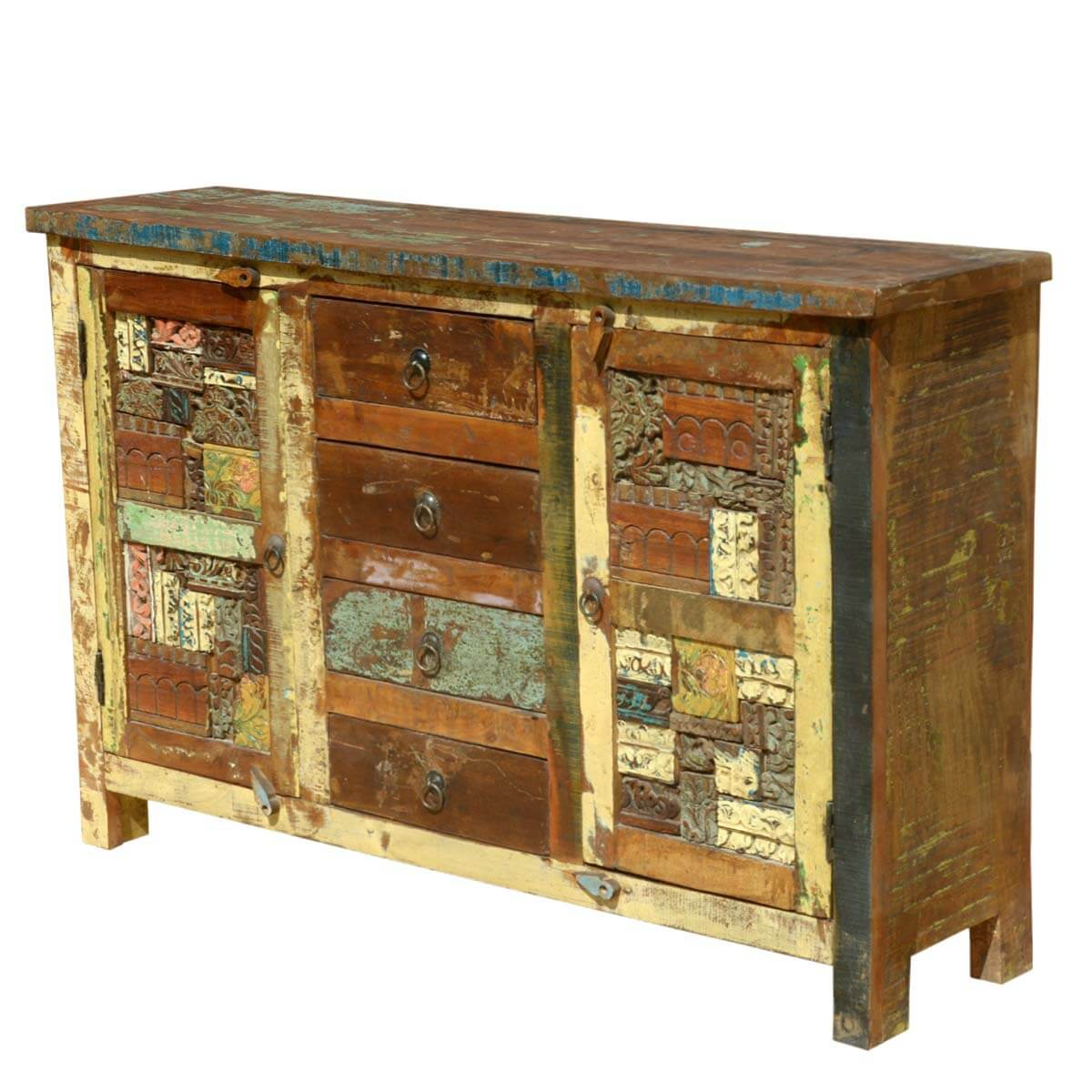 Wood Elevation For Buffet : Reclaimed wooden mosaic rustic sideboard buffet cabinet