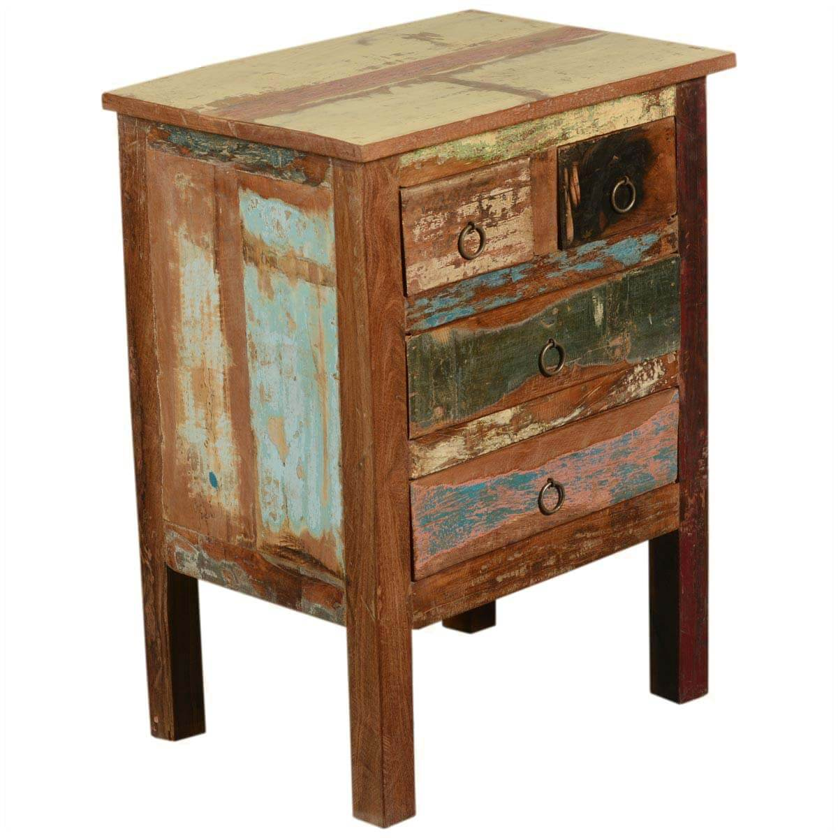 Paint box rustic reclaimed wood standing end table w drawers for End tables with drawers