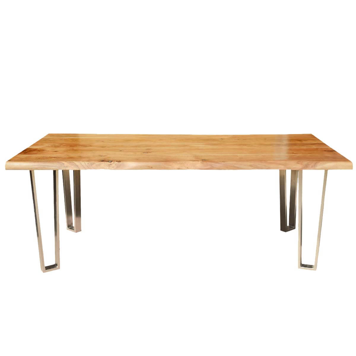 Solid wood iron rustic live edge dining table for Solid wood dining table