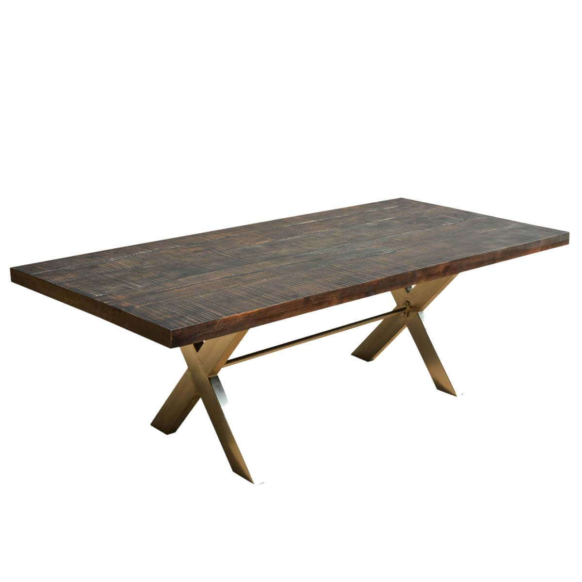 mckay 88 rustic wood hankin industrial iron x legs dining table
