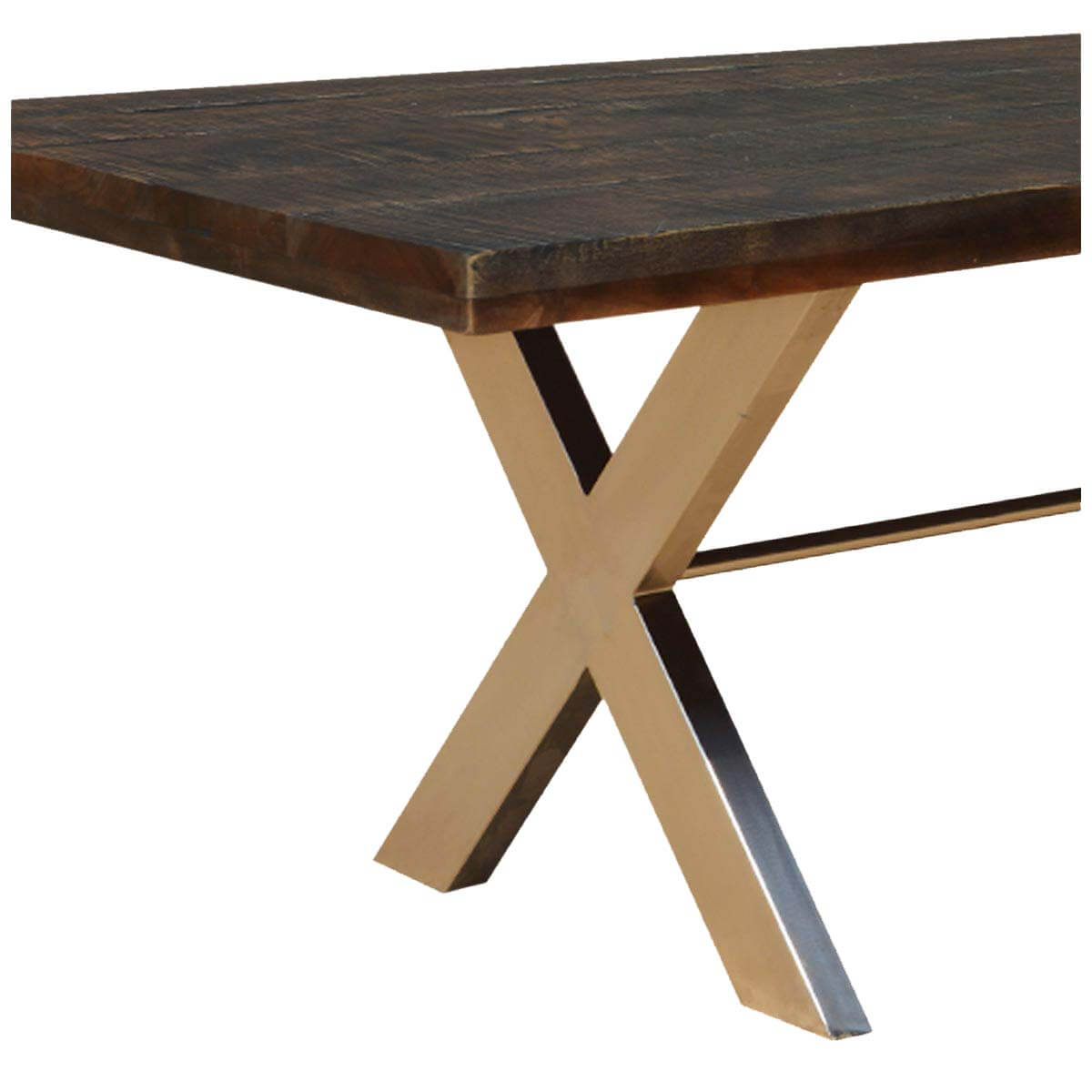 Mckay 88 rustic wood hankin industrial iron x legs dining for Rustic iron table legs