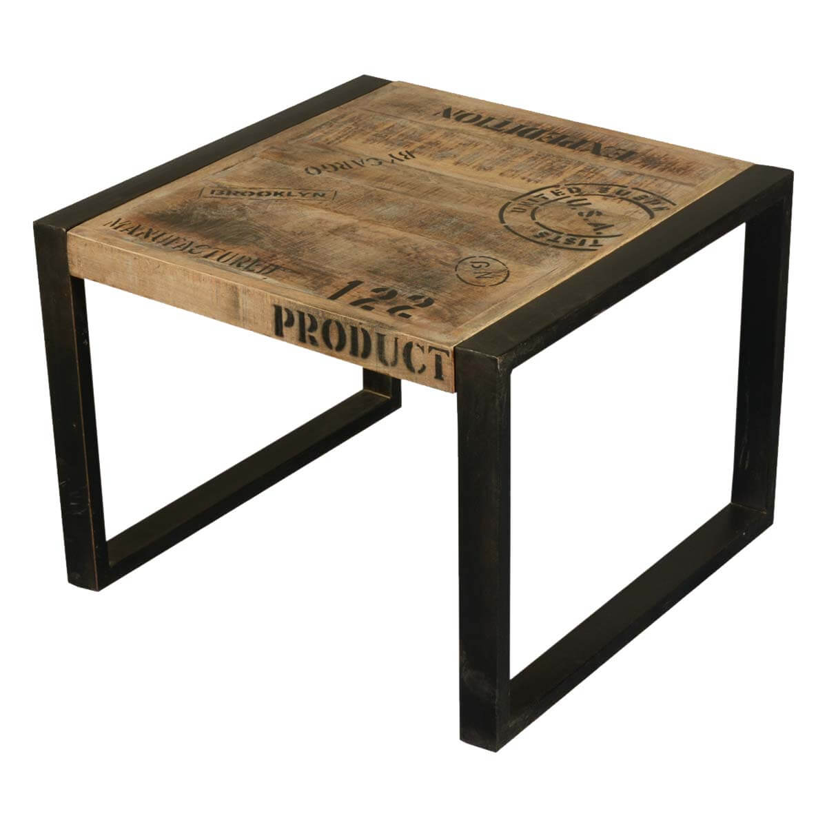 Iron And Wood Side Tables Living Room ~ Boston mango wood industrial iron end table