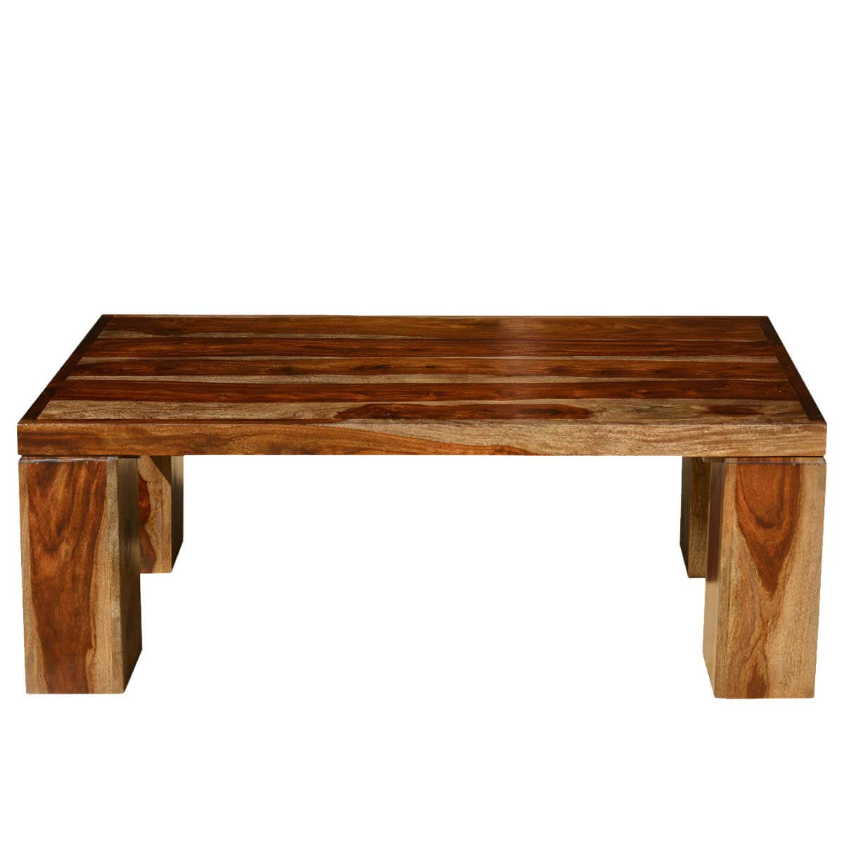 Contemporary Solid Wood Espresso Coffee Table W Block Legs