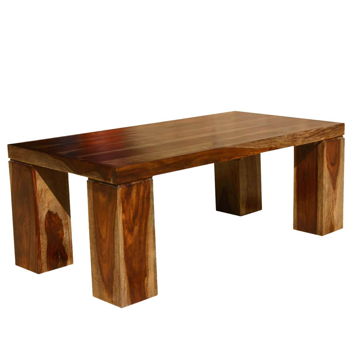 Solid Wood Block Coffee Table: Contemporary Solid Wood Espresso Coffee Table W Block Legs