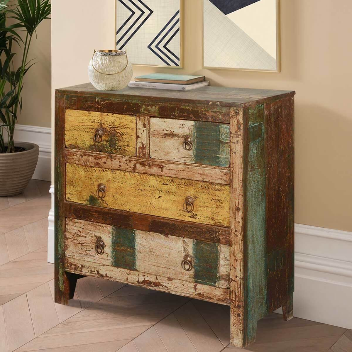 Amazing photo of New Memories Rustic Reclaimed Wood Flat Front 4 Drawer Dresser with #B07A1B color and 1200x1200 pixels