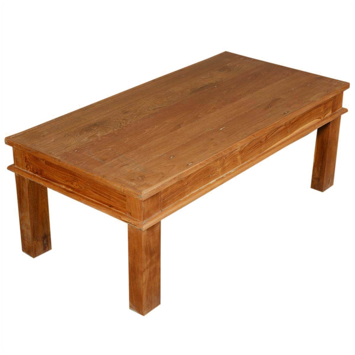 48 solid teak wood danish rustic coffee table for Solid wood coffee table