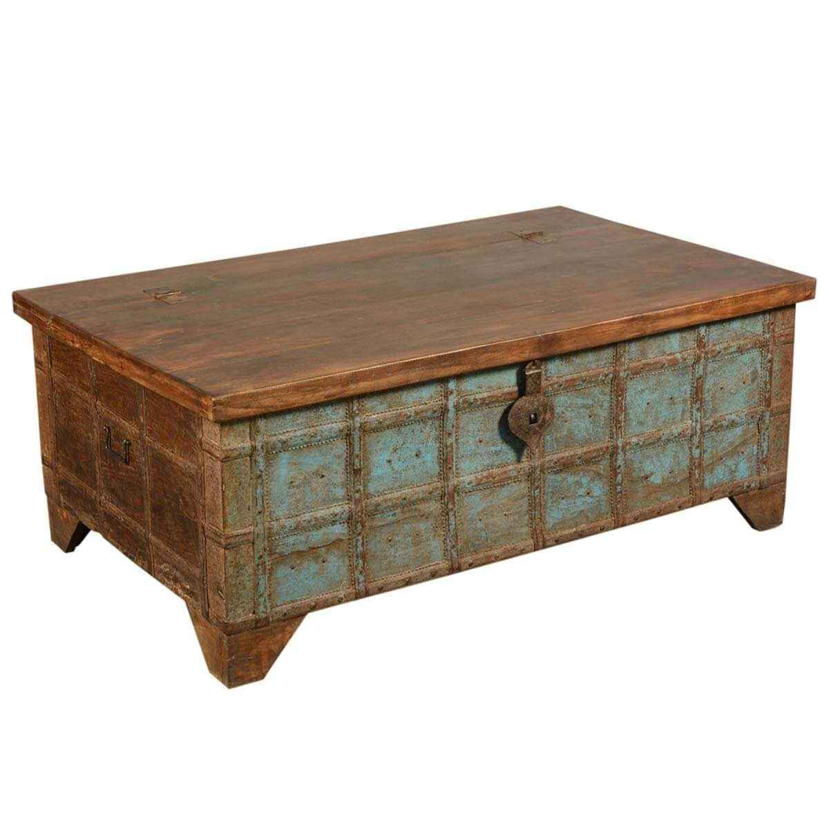 captain 39 s stash reclaimed wood coffee table storage chest trunk. Black Bedroom Furniture Sets. Home Design Ideas