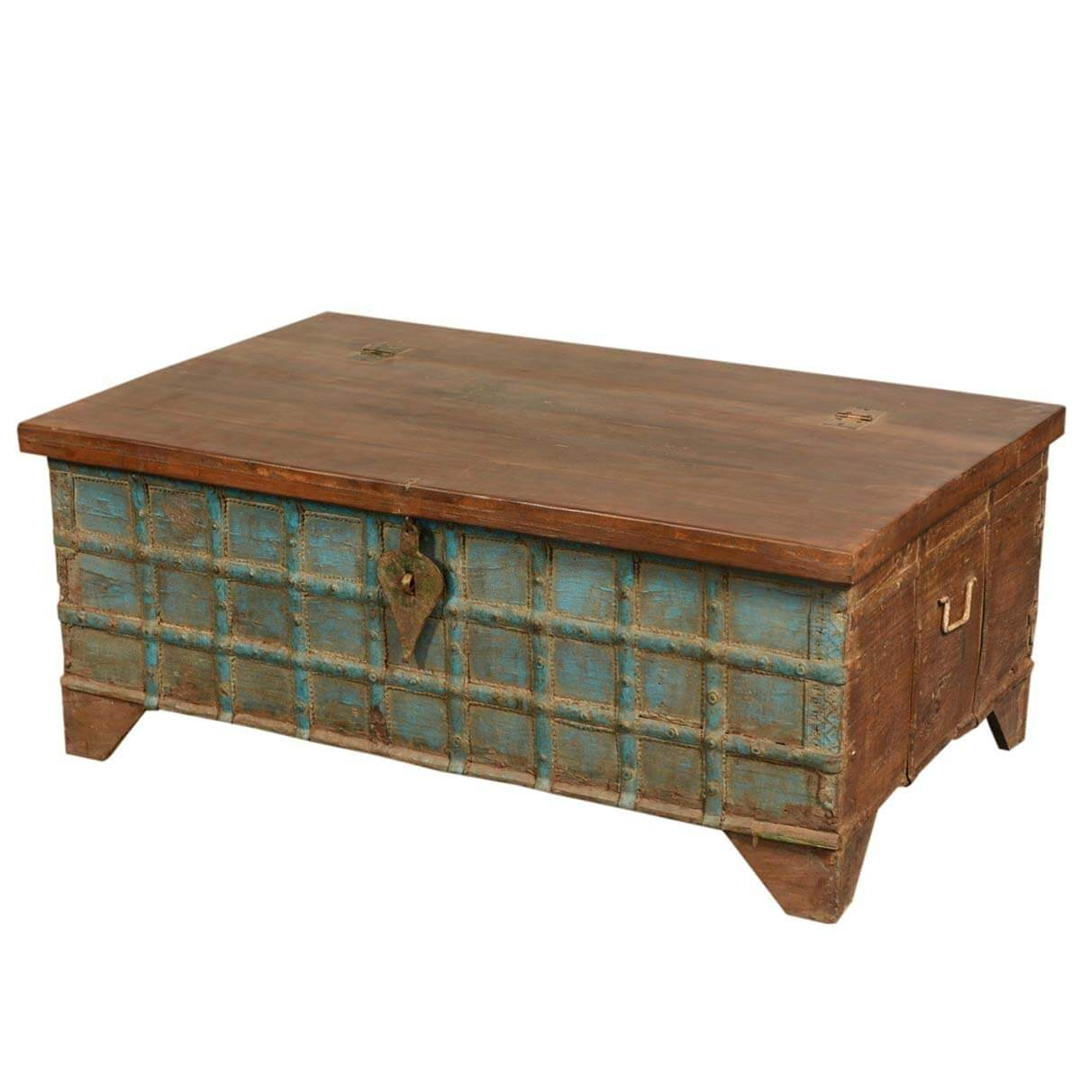 Asian Splendor Mango Wood Amp Brass Inlay Coffee Table Storage Chest Kokanee Solid Wood Storage