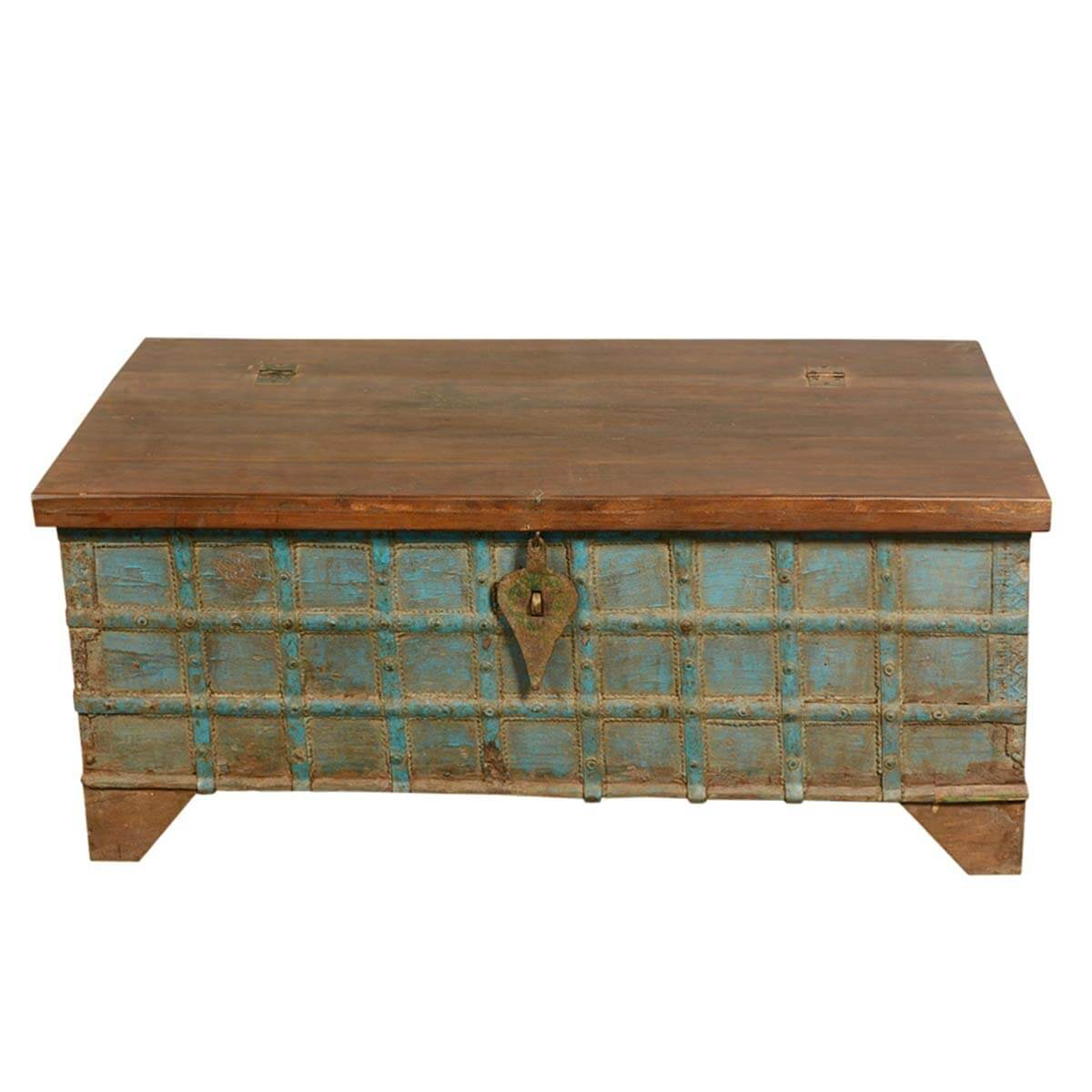 Blue Captain's Stash Reclaimed Wood Coffee Table Storage Chest