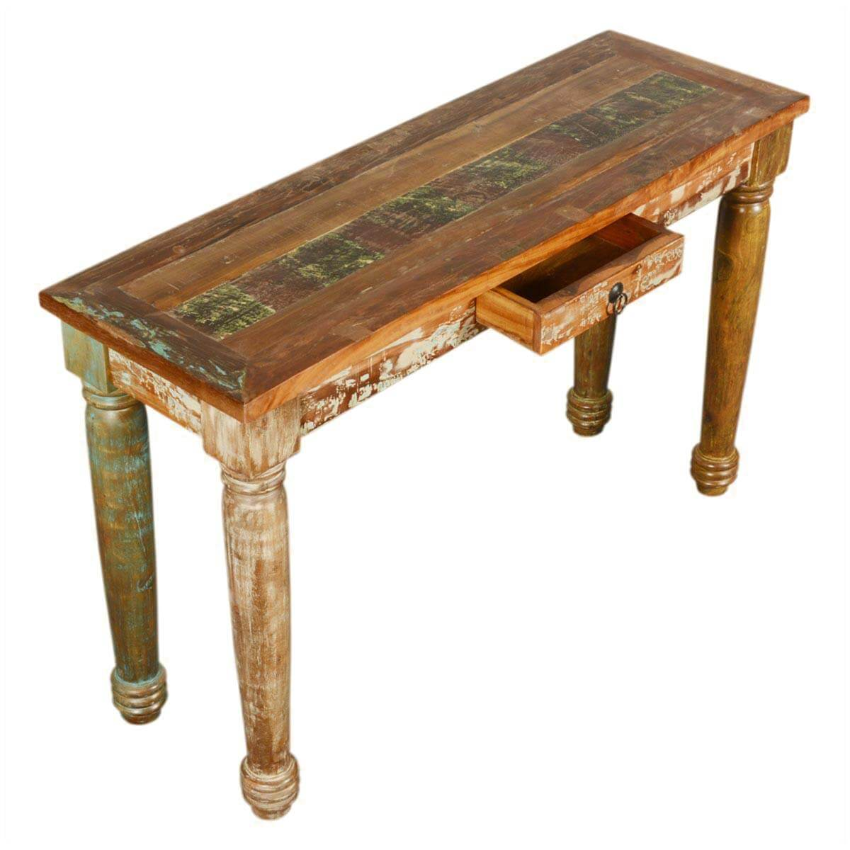 Rustic Wood Foyer Table : Reclaimed wood handcrafted sofa entryway hall rustic