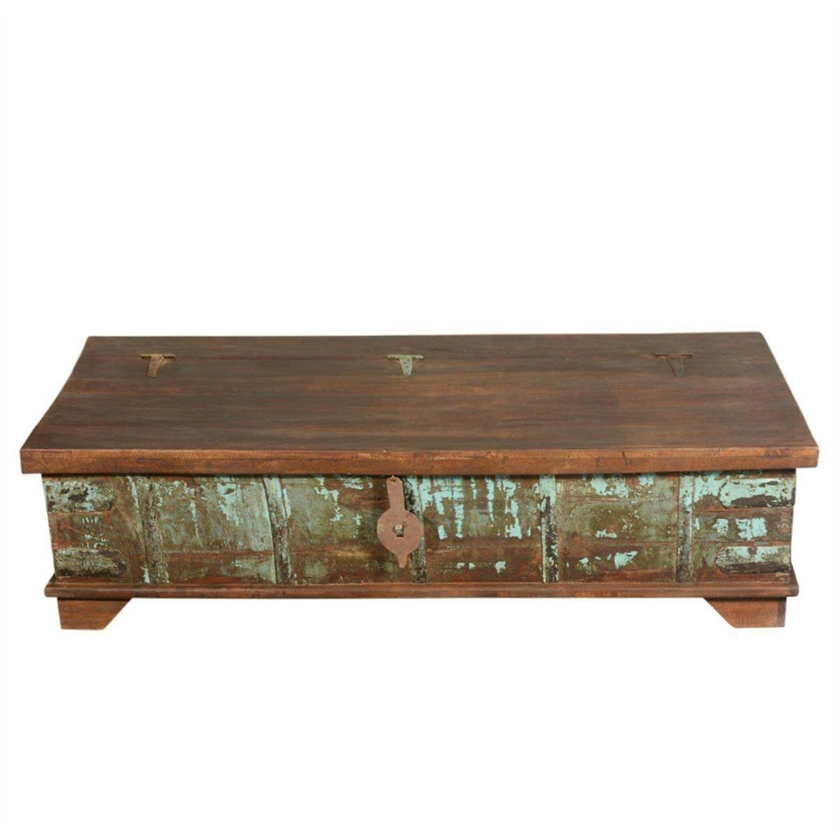 Mediterranean rustic reclaimed wood storage trunk coffee table for Reclaimed coffee table