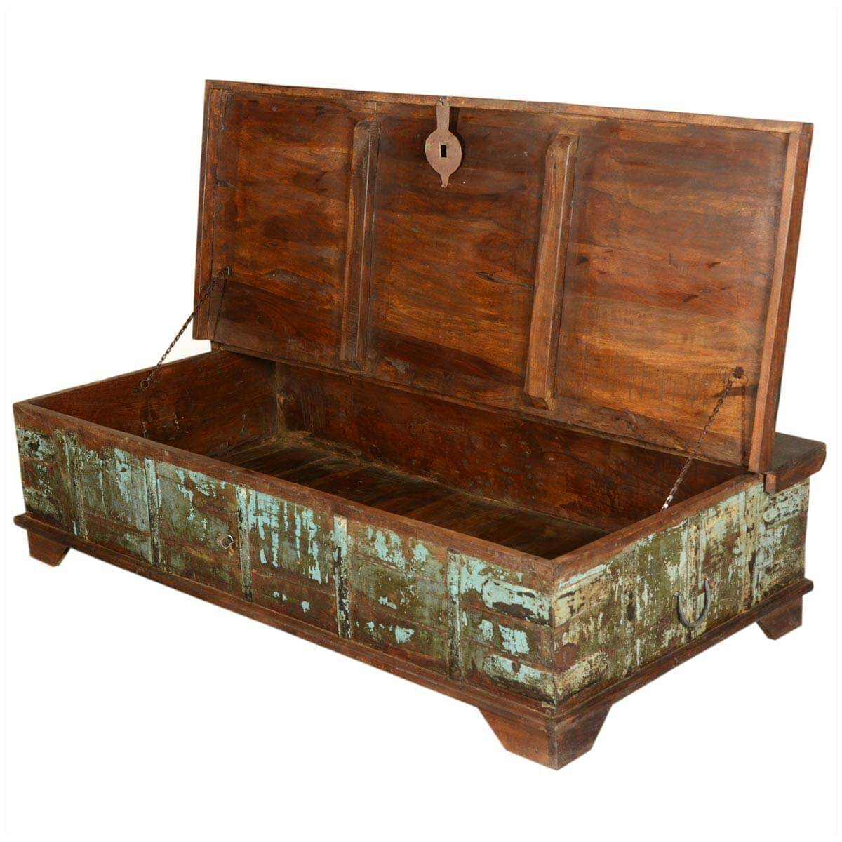 Mediterranean Rustic Reclaimed Wood Storage Trunk Coffee Table